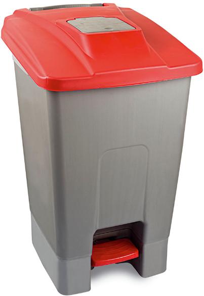 Nowość Kosz na śmieci 100l z pokrywą czerwoną otwieraną pedałem KP100-CZE AN71