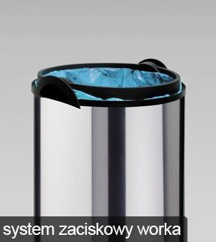 łatwy dostęp i mocowanie worków na śmieci poprzez system zaciskowy