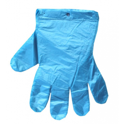 Rękawiczki foliowe niebieskie opakowanie 100 sztuk